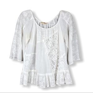 White Linen and Lace Top by Altar'd State